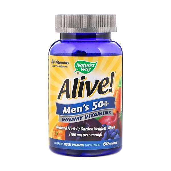 Nature's Way, Alive! Men's 50+ Gummy Vitamins, Fruit Flavors