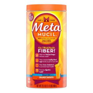 Metamucil Fiber Orange Smooth Sugar Free 23.3 Oz