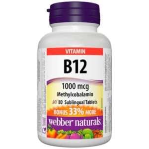 Webber Naturals Vitamin B12 1000 Mcg Quick Dissolve Methylcobal. 60 + 20 Tbl.